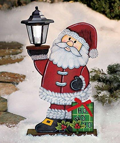 Amazon Com Wooden Santa Claus Solar Lighted Lantern Ho Ho