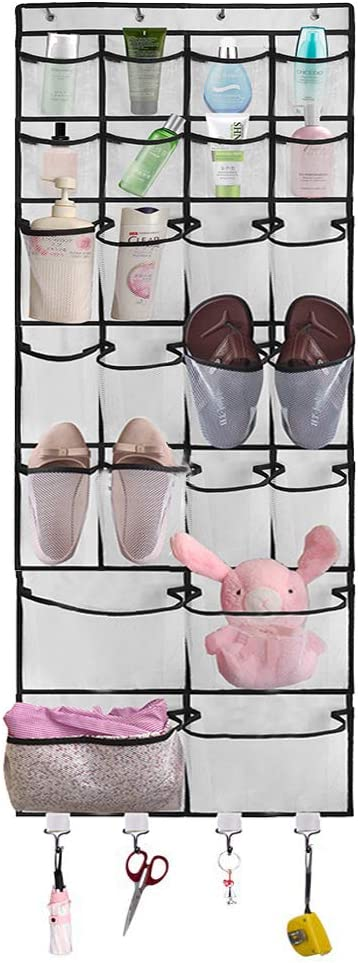 BB Brotrade Over The Door Shoe Organizer,24 Pockets Hanging Shoe Organizer with 3 Size Pockets and 4 Storage Hooks (White)