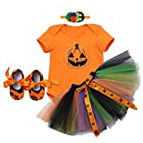 Newborn Infant Baby Toddlers Girls My 1st Halloween Pumpkin Skull Rompers Bodysuit Cake Crown Tutu Dress with Headband Shoes 3PCS Clothes Set Children Tulle Outfits Photo Shoot Costume