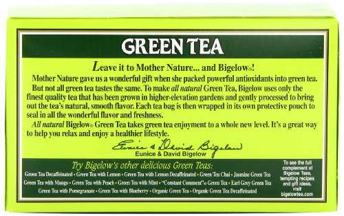 Bigelow Green Tea Bags, 20 Count Box (Pack of 6) Caffeinated Green Tea, 120 Tea Bags Total 4 DELICATE GREEN TEA: Our Classic Green Tea provides essential antioxidants making it delicious & healthy! Enjoy it as traditional hot tea or iced tea. INDIVIDUALLY WRAPPED: Bigelow tea always come individually wrapped in foil pouches for peak flavor, freshness and aroma to enjoy everywhere you go! Gluten -free, calorie-free, & Kosher certified. TRY EVERY FLAVOR: There's a tea for morning, noon & night time relaxation. Try our English Breakfast, Vanilla Chai, antioxidant Green Tea, decaffeinated, organic teas & a variety of our herbal tea bags.