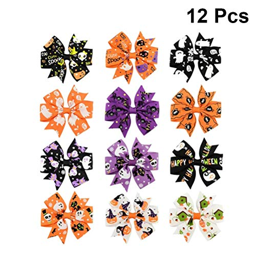 Toyvian Halloween Hair Bow Boutique Clip, Girls Headband - Party Hair Accessary, 12Pack -