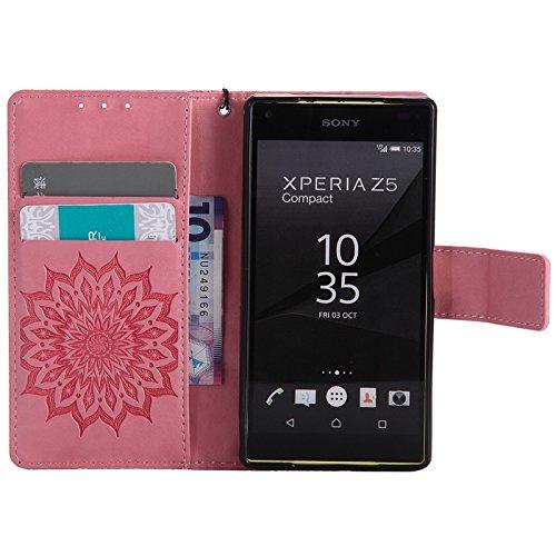 YHUISEN Diseño de la impresión de la flor del sol Caja de cuero del tirón de la PU del tirón del cordón con la ranura para tarjeta / soporte para Sony Xperia Z5 Compact / Z5 Mini ( Color : Rose Gold ) Pink