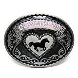 MASOP Rodeo Oval Cowgirl Up Belt Buckle Girl Women Ladies Western Engraved Horse