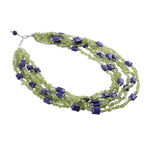 NOVICA Multi-Gem Lapis Lazuli .925 Sterling Silver Beaded Necklace 'Spring Harmony'