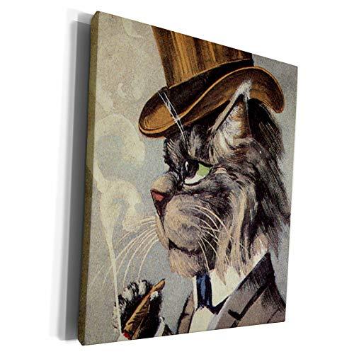 3dRose TNMPastPerfect Animals Cats - Top Cat Smoking - Museum Grade Canvas Wrap (cw_172541_1)