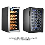 Electro Boss 28 Bottle Wine Cooler Thermoelectric Stainless-Steel Fridge for Red or White, Digital Display, Reversible Glass Door, Model #5335, Silver 14 Create your own personal wine cellar in the comforts of your home, kitchen or entertaining space with the 28 Bottle Wine Cooler by Electro Boss. Save on your electric bill each month with this energy efficient, thermoelectric beverage chiller. The dual cooling fans circulate air evenly, maintaining the desired temperature and costs less than traditional compressor driven fridges. This wine fridge features a digital temperature display and electronic touchpad that allows you to adjust the thermostat between 11-18 degrees C or 52-64 degrees F, delivering the ideal environment to store bottles of red and white wine. The beverage cooler also sports 6 removable chrome racks, a reversible glass and stainless-steel door with recessed handles and a blue interior LED light to make your drink selection easier!