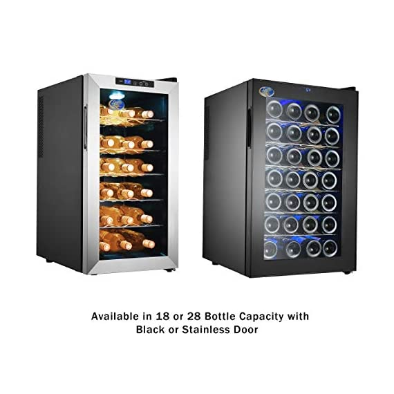 Electro Boss 28 Bottle Wine Cooler Thermoelectric Stainless-Steel Fridge for Red or White, Digital Display, Reversible Glass Door, Model #5335, Silver 7 STORES 28 BOTTLES- With 6 rows of removable chrome racks that hold 4 bottles each, this fridge provides ample space for storing wine, beer and other beverages. The blue interior LED light helps you make your drink selection and adds to the sleek style. THERMOELECTRIC- Save on your electric bill each month with this energy efficient, thermoelectric beverage chiller. The dual cooling fans circulate air evenly, maintaining the desired temperature and costs less than traditional compressor driven fridges. PERFECT TEMPERATURE- The key to enjoying a glass of wine is storing the bottle in a consistent temperature. Adjust the electronic thermostat of the wine cooler to 52-64°F or 11-18°C to create the ideal environment for both red and white wines.