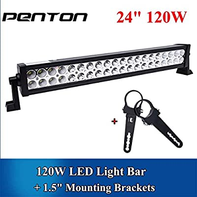 "Penton(TM) 120w 24"" Inch Led Light Bar Work Lights Flood Spot Combo Beam Waterproof 10v-30v 3w*40 12000 Lumen for 4wd SUV UTE Offroad Truck ATV UTV"