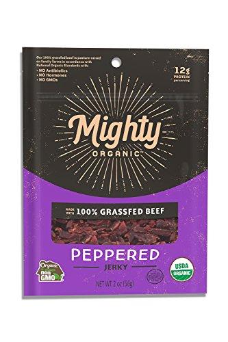 Mighty Organic, Organic 100% Grassfed Peppered Beef Jerky