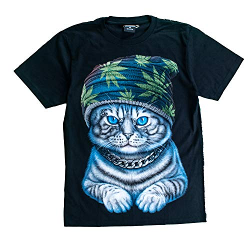 (T-Shirt Sale 3D Glow in Dark Animal for Man Unisex (Large, Cat4 with Marijuana Hat (Green)