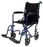 Karman Healthcare LT-2017-BK Folding Aluminum Transport Chair, Black, 17 Inches Seat Width