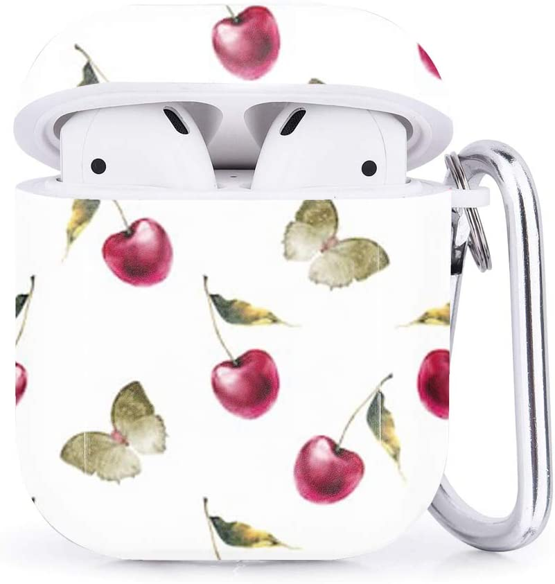 Compatible with Airpods 2 /& 1 Natural Watercolor Cherry Butterfly Shockproof TPU Gel Portable Protection Soft Case Cover Skin with Carabiner Clip Keychain