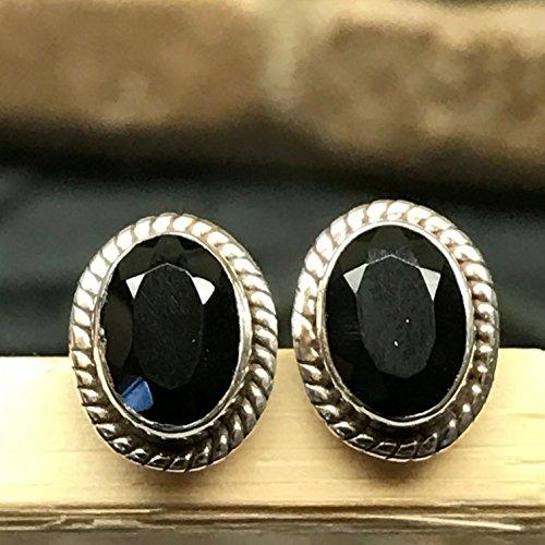 Genuine Black Onyx 925 Solid Sterling Silver Designer Stud Earrings (Designer Onyx Stud)