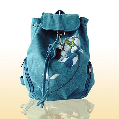 Toile Femmes blue Dos Peintes Sac National Dos À en À Chinoise Main Peinte Femme À Sac Nouveau Main shuangjian La La Sac À Vent Épaules STHqzwfT