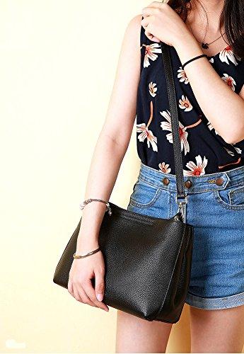 Black Women Multiple Q0933 Bag Shoulder Pockets Leather Dissa Hard Handbags PfZznaqw