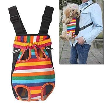 Mochila Porta Mascotas - Zariavo Rainbow Striped Nylon Mesh Travel Travel Bag Mochila
