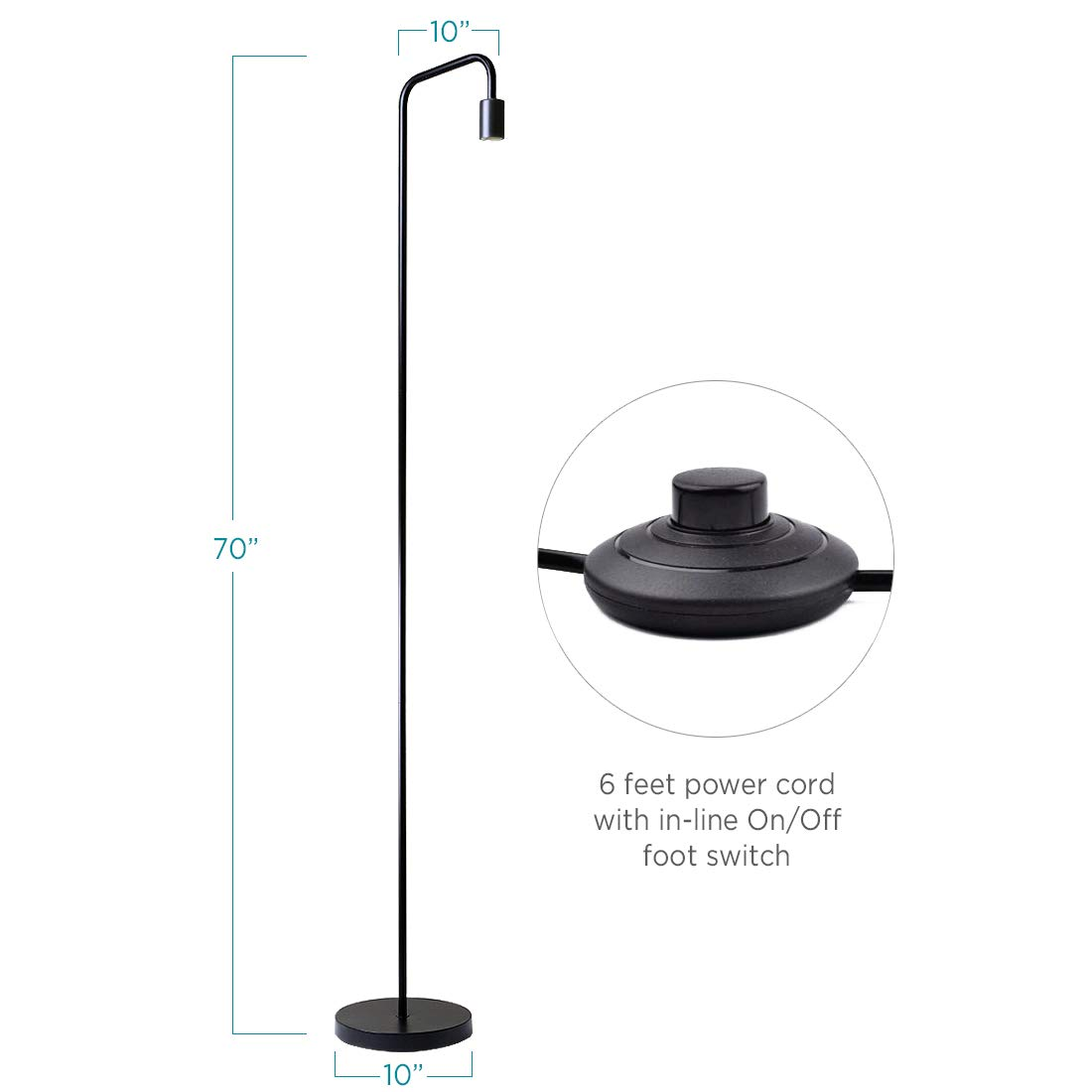 O'Bright Industrial Floor Lamp for Living Room, 100% Metal Lamp, UL Certified Ceramic E26 Socket, Minimalist Design for Decorative Lighting, Stand Lamp for Bedroom/Office/Dorm, ETL Listed, Black by O'Bright (Image #7)
