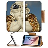 Samsung Galaxy S6 Flip Pu Leather Wallet Case praying little angel figure with golden wings isolated on sky IMAGE 37104271 by MSD Customized Premium