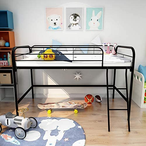 Metal Loft Bed Twin Size Loft Bed Kids Bed with Ladder and Safety Guardrail for Bedroom Space-Saver Multifunctional Metal Bed Black