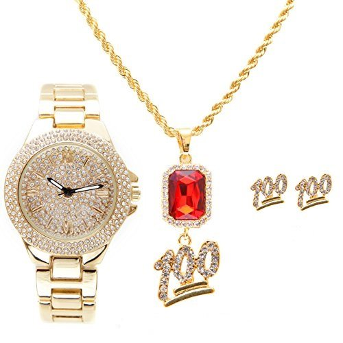 Hop Real Bling Hip (Ladies Dainty Beautiful Hip Hop Bling Bling Watch with Keep It Real 100% Ruby Red Charm Necklace and Matching 100% Gold Earrings - RRR11F -7841 Gold 100% Set)