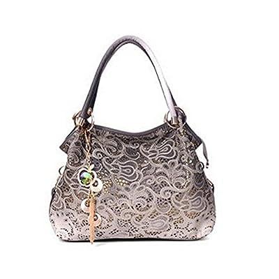 WINK KANGAROO Women Handbag Top-handle Tote Shoulder Fashion Sequins PU Leather Bag Purse (03 grey)