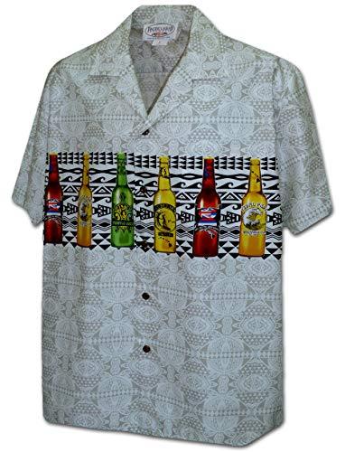 Beer Camp Shirt - Pacific Legend Mordern Beer Men's Hawaiian Camp Shirts 440-3964-CREAM-L