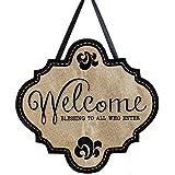 """Evergreen Welcome Blessings Hanging Outdoor-Safe Burlap Door Décor - 18.8""""W x 19.8""""H"""