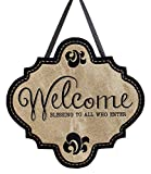 "Evergreen Welcome Blessings Hanging Outdoor-Safe Burlap Door Décor – 18.8""W x 19.8""H For Sale"