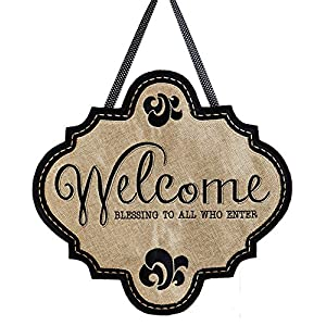 "Evergreen Flag Welcome Blessings Hanging Outdoor-Safe Burlap Door Décor - 18.8""W x 19.8""H 3"