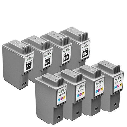 Speedy Inks - Compatible Canon BCI-21/24 Set of 8 Ink Cartridges: 4 x BCI24B Black 4 x BCI24C Color