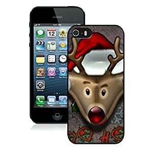 Customized Portfolio Iphone 5S Protective Cover Case Christmas Deer iPhone 5 5S TPU Case 4 Black