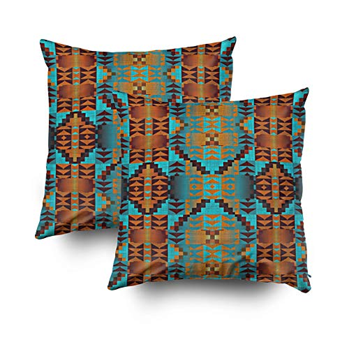 - KIOAO Christmas Pillowcase Standard 2PCS 18X18Inches Square for Cushion Home Decorative, Native American Indian Tribal Pattern Art Outdoor Pillow Covers Printed with Both Sides of Cotton