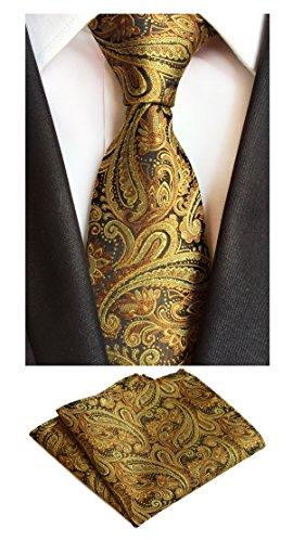 87315391fe22 MOHSLEE Mens Gold Paisley Silk Suit Tie Necktie & Handkerchief Pocket Square  Set