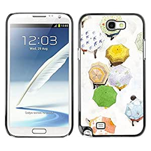 FECELL CITY // Duro Aluminio Pegatina PC Caso decorativo Funda Carcasa de Protección para Samsung Note 2 N7100 // Autumn Umbrella Painting White