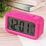 Digital Snooze LED Alarm Clock Backlight Time Calendar Thermometer Temperature - Pink