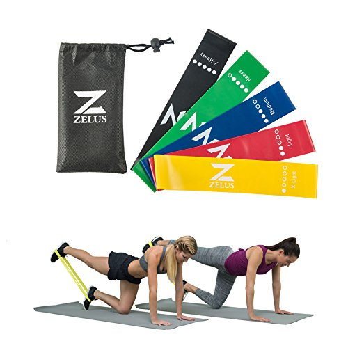 ZELUS Resistance Bands Exercise Loops for Daily Workout Pilates Yoga Rehab Physical Therapy Set of 5