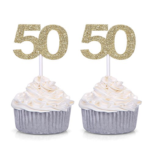 Giuffi Set of 24 Golden Number 50 Cupcake Toppers 50th Birthday Celebrating Party Decors - by by Giuffi