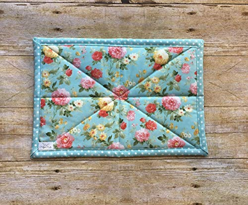 Deco Floral Print - Aqua floral & polka dot print baking dish hot pad trivet
