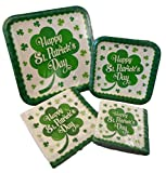 4 Leaf Clover St Patrick's Day Paper Plate & Napkin Bundle - Four Items; 2 Packs of Plates and 2 Packs of Napkins