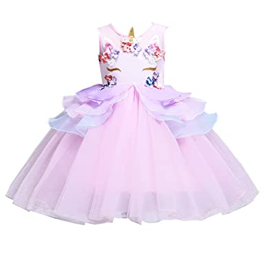 f9b7a63fbf817 Enfants Summer Unicorn Tutu Robe pour Les Filles Broderie Flower Ball Robe  bébé Fille Princesse Robes