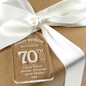 Personalised 70th Birthday Acrylic Gift Tag For Her
