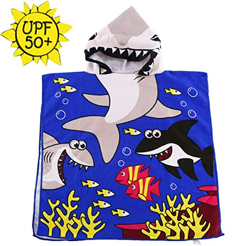 HETH Kids Hooded Beach and Bath Towel Beach Swimming Coverup for Age 2-8 Years Old Multi-use for Bath/Shower/Pool(Tiger Shark)