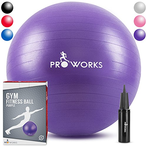 "Cheap Proworks Anti-Burst Exercise Ball 65cm / 25.5"" Heavy Duty Fitness Ball with Pump (Purple)"