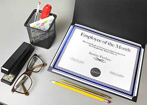 12-Pack Certificate Holder - Diploma Cover, Document Cover for Letter-Sized Award Certificates, Black, Gold Foil, 11.2 x 8.8 Inches by Best Paper Greetings (Image #1)