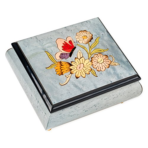Light Blue Butterfly Italian Hand Crafted Inlaid Elm Wood Musical Box Plays Tune As Time Goes by -