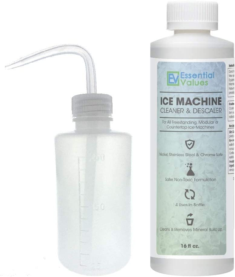 Essential Values Ice Machine Cleaner + Wash Bottle, (16 fl oz) Nickel Safe Descaler | Ice Maker Cleaner, Universal Application for Affresh/Whirlpool 4396808, Manitowac, Ice-O-Matic