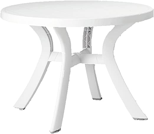 Mesa de Comedor de jardín Redonda de 100 cm, de Resina, Agujero para sombrilla: Amazon.es: Jardín