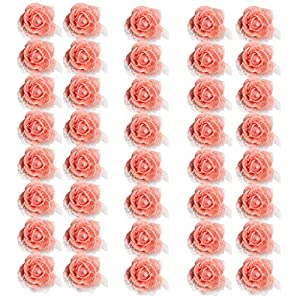 MagiDeal 50 Pieces Many Color Mini Artificial Foam Mesh Rose Flower Heads Embellishment for Wedding Crafts 4cm - Pink 55
