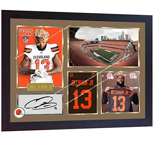 10c0f5e39 S&E DESING Odell Beckham Jr Cleveland Browns NFL American Football Signed  Autographed Photo Print Framed