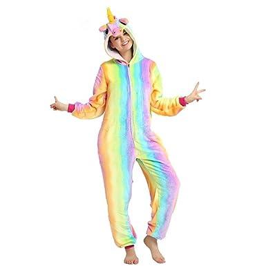 comprare popolare f8286 34734 Rainbow Fox Stella Unicorno Pigiama per Adulto Unisex Animale Costume  Flanella Indumenti da Notte